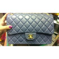 Bolsa Jumbo Azul Chanel Couro Italiano Na Caixa