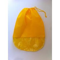 Saco Para Sapatos Em Tnt Amarelo C/ Visor Plástico-kit 12u.