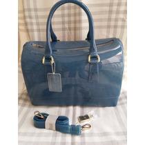 Bolsa Candy Bag - Azul Jeans Com Glitter, Com Cadeado E Alça