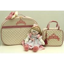 Kit Bolsa Maternidade E Porta Mamadeira Rosa Baby Art
