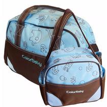 Kit Bolsa E Frasqueira Maternidade Bebê Color Baby Azul