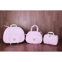 Kit Bebê Maternidade 3 Peças ( Mala Com Rodinhas)rosa