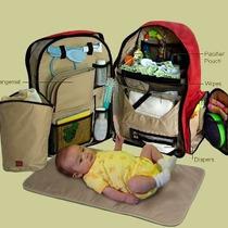 Bolsa De Fraldas Okkatots Baby Luxo - Vermelha- Importada