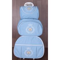 Kit Mala Maternidade 3 Peças Azul Pronta Entrega / Rodinhas