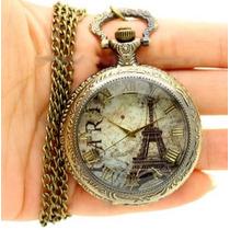Relógio De Bolso Estilo Antigo Com Estampa Da Torre Eiffel