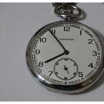 Relógio De Bolso Antigo - Suíço Longines-2 Tampas Assinadas