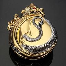 Relógio De Bolso - Dragão E A Jóia - Quartz - Pronta Entrega