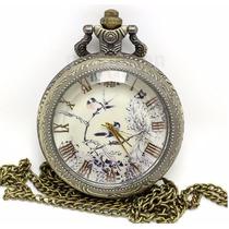 Relógio De Bolso Estampado Com Dois Pássaros No Galho