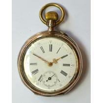 Antigo Relógio De Bolso Alemão De Prata 3 Tampas A Corda