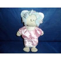 Boneca Anjinha De Pano Com Cabelo De Lã E Vestido Rosa 31cm