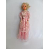 Boneca Tipo Barbie Ou Susi Com Lindo Vestido Rosa