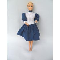 Boneca Tipo Barbie Toda De Borracha Vestido Azul