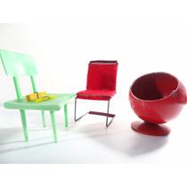 3 Antigas Cadeira De Boneca Anos 50 Pé Palito!!! Atma