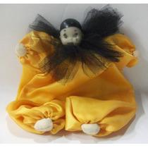 Brq - Pierrot Cabeça De Biscuit Corpo De Tecido Cetim 17cm