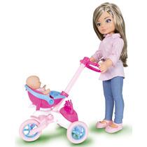 Boneca Charmosa Passeia Com Sua Irmãzinha Brinquedo Cotiplás