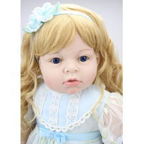 Boneca Reborn Menina Loira Silicone 70 Cm