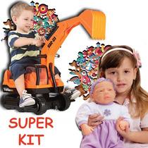 Escavadeira Gigante Infantil+boneca Baby Aninha - Promoção