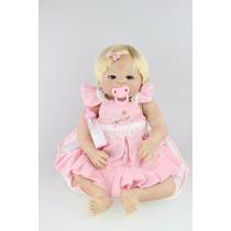 Boneca Reborn 58 Cm Bebê Menina Com Chupeta.