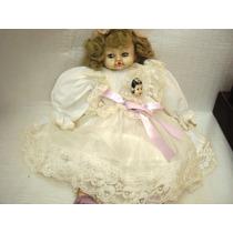 Item Coleção Antiga Boneca Porcelana Dama Pano Renda Dec,20