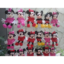 Kit C/ 2 Peças 1 Minnie Vermelha E 1 Mickey 25cm Pelucia