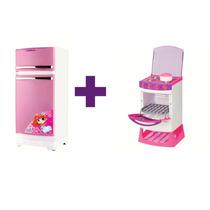 Geladeira Rosa + Fogão Master Chef Eletrônico - Magic Toys
