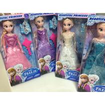 Boneca Frozen Disney Rainha Elsa Ou Princesa Ana + Brinde