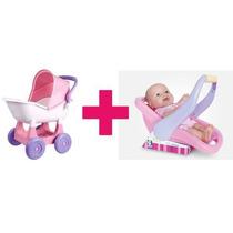Carrinho De Boneca Ninos + Boneca Bebê Conforto Super Oferta