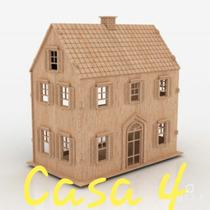 Casa Casinha Mdf Boneca Polly Com Kit Móveis - Modelo 4