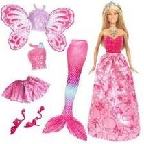 Boneca Barbie 3 Em 1 - Cauda Sereia Bailarina Vestido Asas