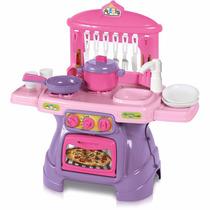 Cozinha Infantil Mini Cheff Rosa Sai Água Calesita 317