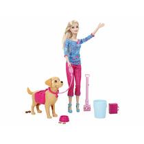 Boneca Fashion Barbie Family Taffy Passeio C/ O Cachorro