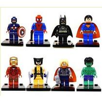 Kit Bonecos De Montar - Tipo Lego - 8 Super Heróis