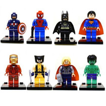 Kit 8 Mini Figuras Super Heroes Marvel.