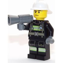 Lego Boneco Bombeiro Com Fone - City - Frete R$5,00