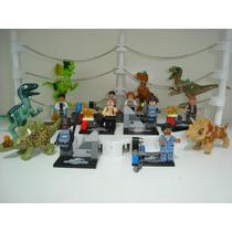 Jurassic Wold 8 Personagens Do Parque + 6 Dinossauros Lego