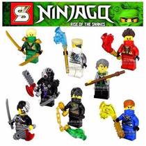 Frete Grátis - Kit C/ 8 Boneco Ninjago Lego - Original
