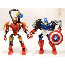 Bonecos T.lego Desmontável Marvel Capitão America/homem Ferr