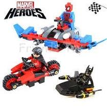 Homem Aranha, Batman E Robin Motorizados - 3 Heróis Motor.