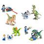 Jurassic World 4 Personagens Do Parque + 4 Dinossauros =lego