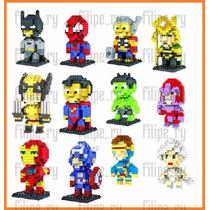Herois 8 Bits Lego Batman Spiderman Wolverine Iron-man Thor