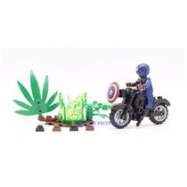 Kit Capitão América Moto Padrão Lego Herói Marvel Vingadores