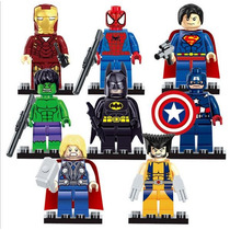Marvel Super Heroes Kit 8 Bonecos Lego Blocos De Montar
