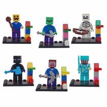 Lego Minecraft Kit Com 6 Bonecos + Espada Picareta Armadura