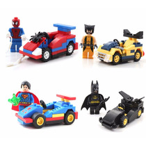 Kit 4 Carrinhos + Bonecos - Super Heroes - Mini Figuras