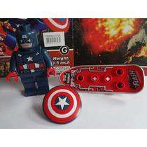 Boneco Lego Marvel Liga Da Justiça Avengers Capitão América
