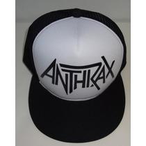 Boné Trucker Cap Aba Reta Preto E Branco Anthrax Classico