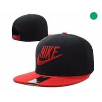 Boné Aba Reta Nike Masculino Importado Vermelho E Preto