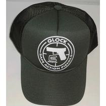 Boné Trucker Glock Perfection Pistola Safe Verde Militar
