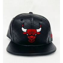 Boné Couro Aba Reta New Era Chicago Bulls Preto Snapback