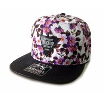 Boné Aba Reta Black Bulls Snapback Florido Skate Floral
